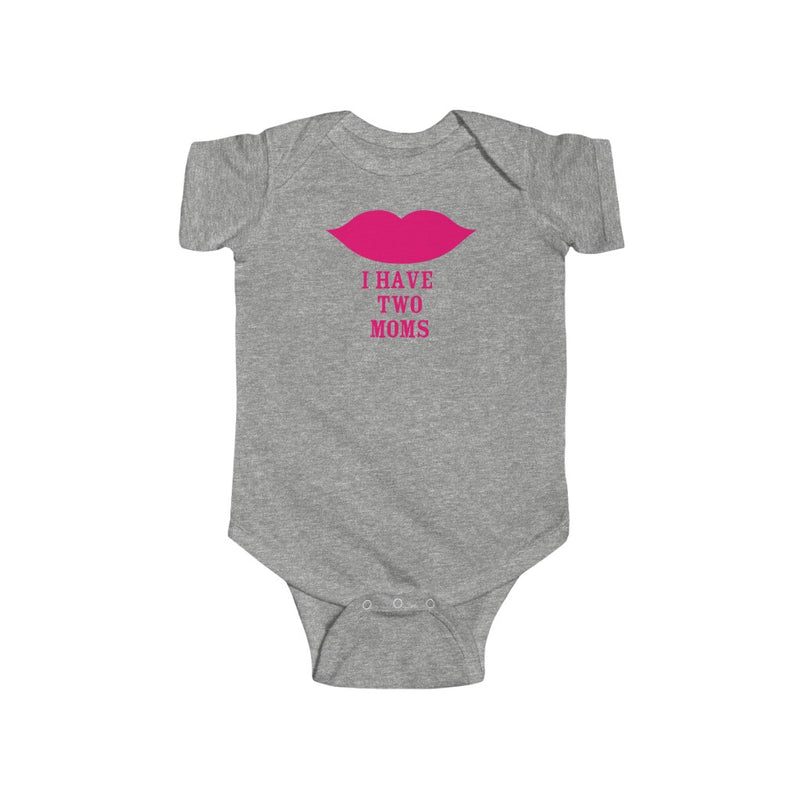 Heather Grey Infant Bodysuit with Cartoon Lips - I Have Two Moms in Pink Lettering