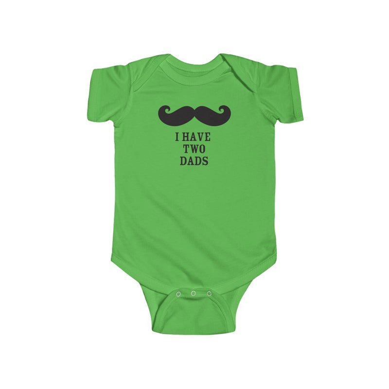 Apple Green Infant Bodysuit with Mustache - I Have Two Dads in Black Lettering