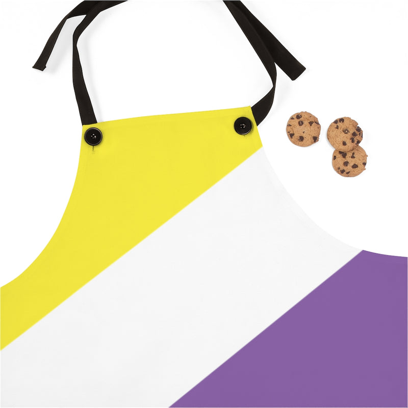 Non-Binary Pride Flag - Close up of top of apron
