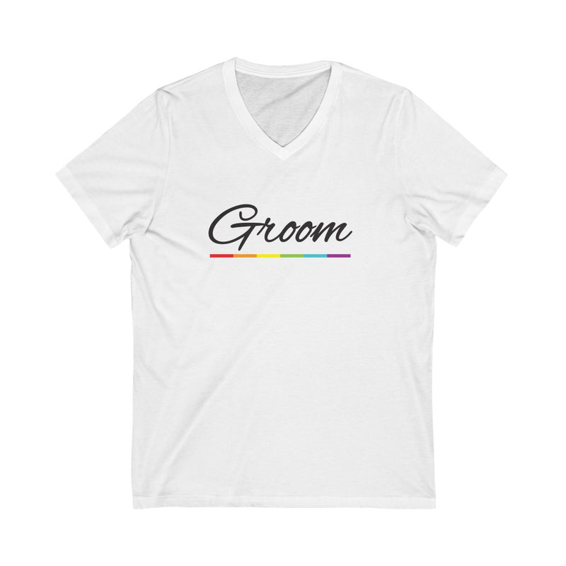 Wedding Day White V-Neck Tshirt with Groom in Black Cursive - LGBTQ+ Rainbow Underline