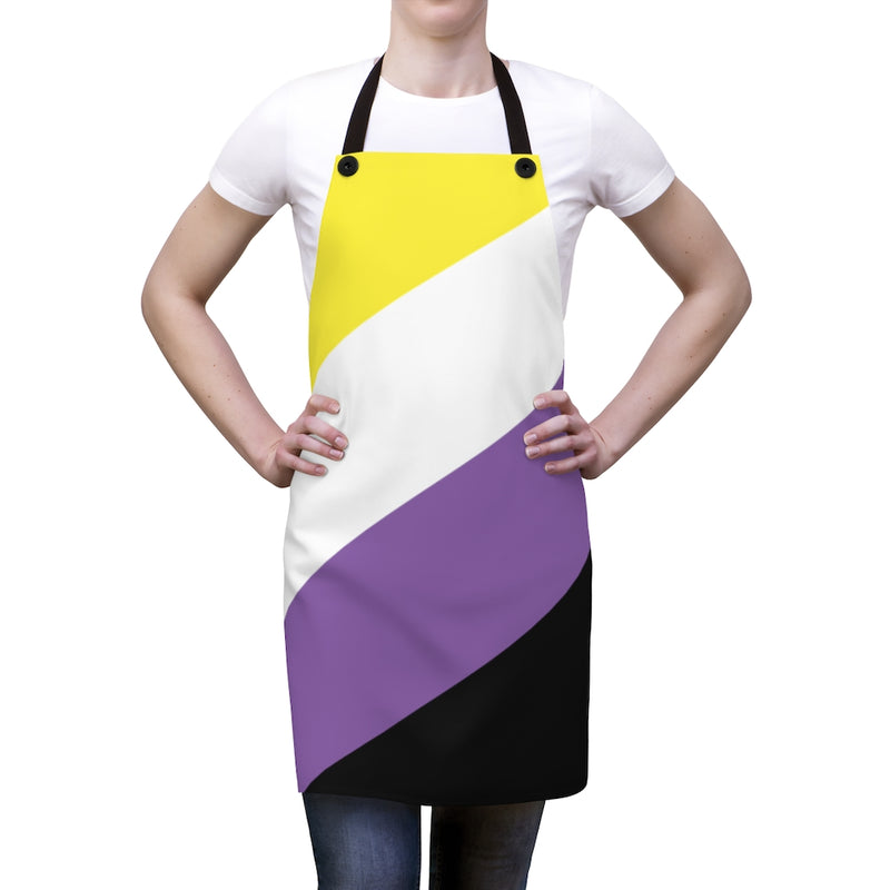 Non-Binary Pride Flag Apron - Front View on Female