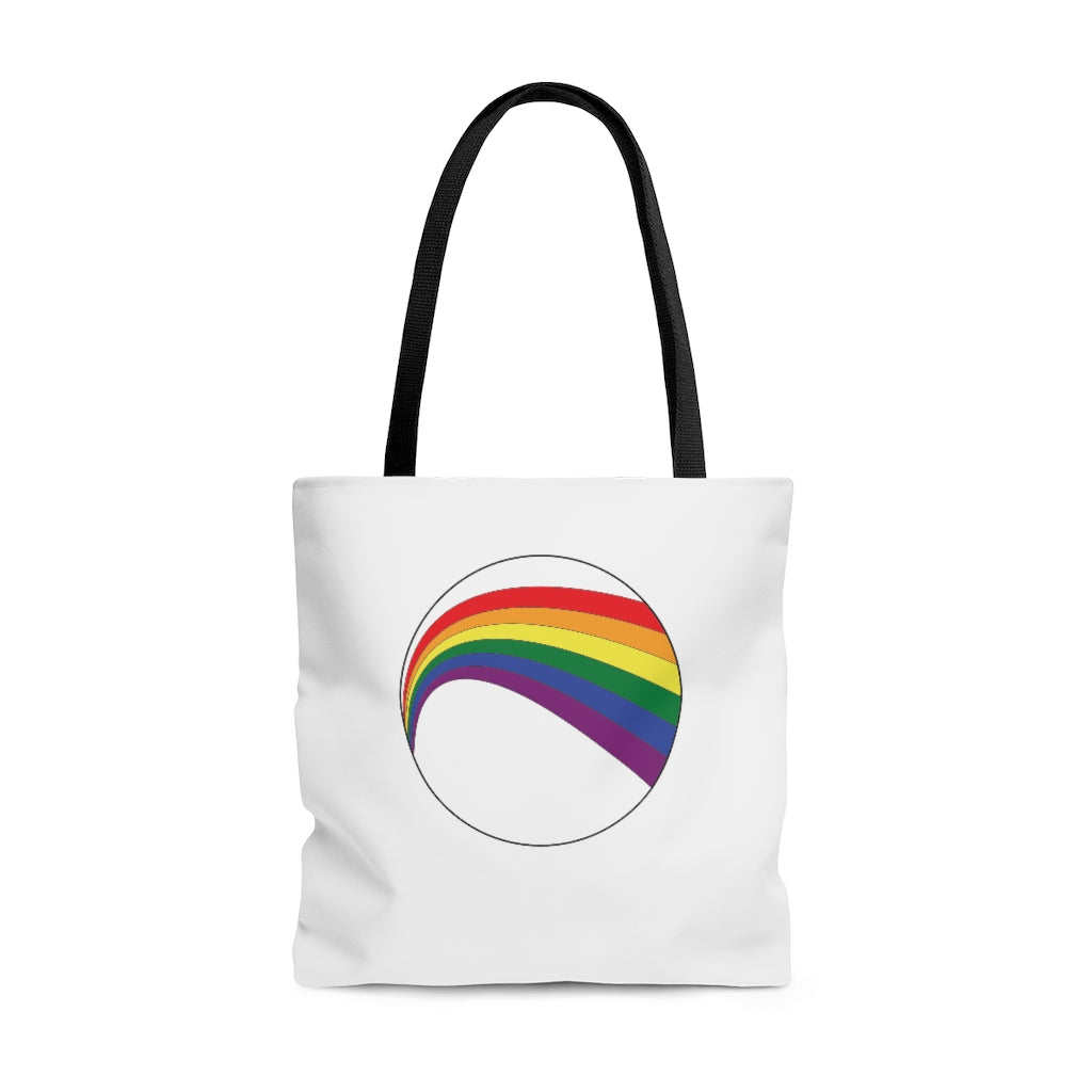 LGBT Rainbow Arc White Tote Bag with Black Handles - Front