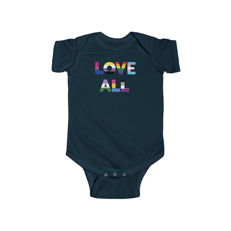 Navy Blue Infant Bodysuit with LOVE ALL in Rainbow Block Letters