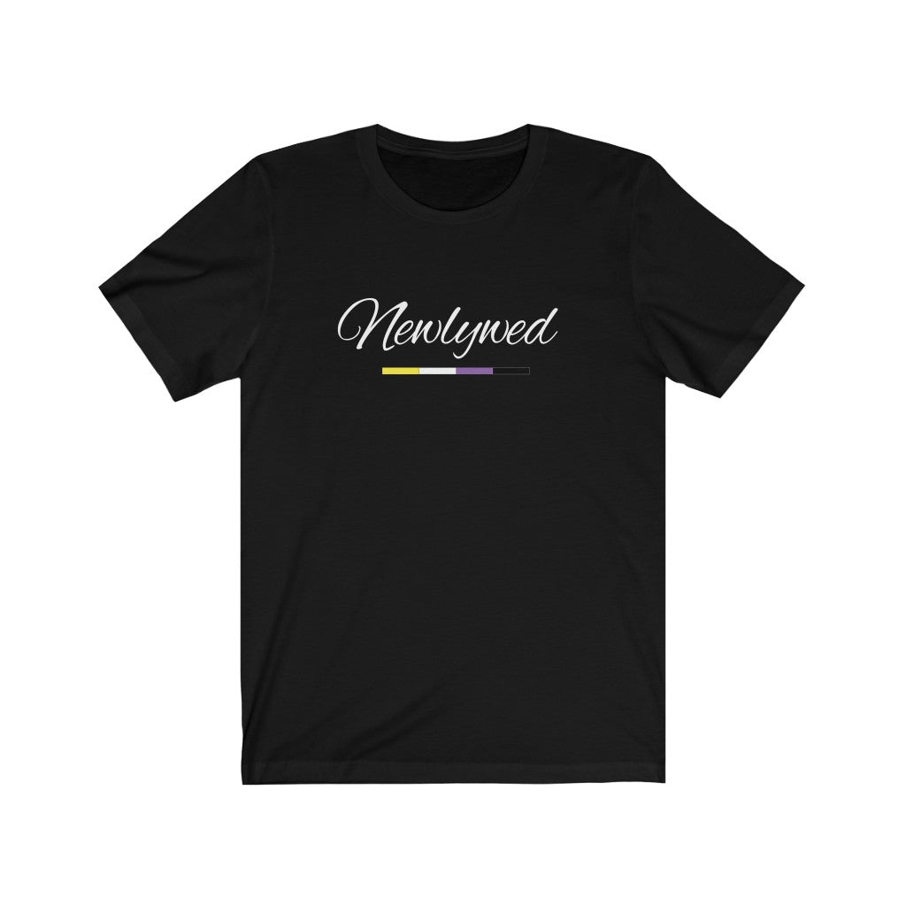 Black Crewneck Tshirt with Newlywed in White Cursive - Non-Binary Pride Underline
