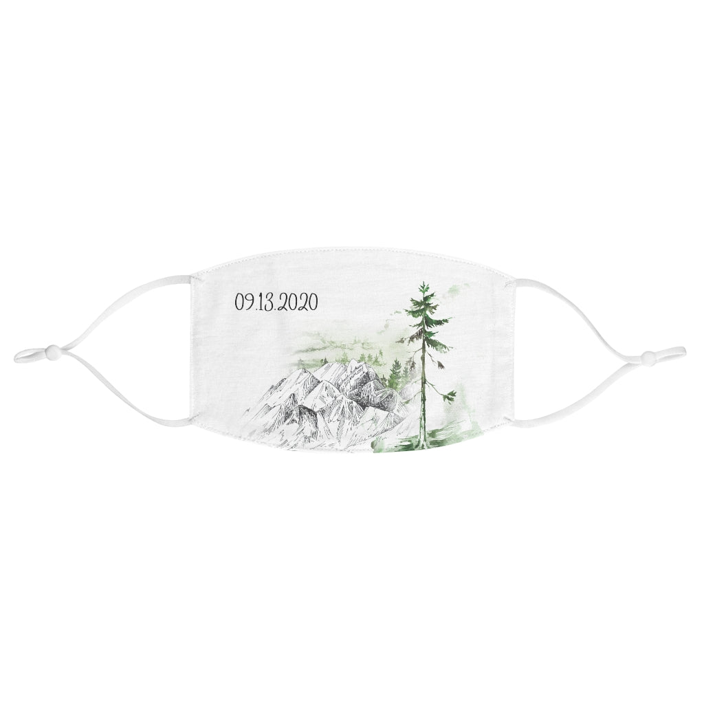 White Fabric Face Mask - Adjustable Ear Loops - Mountains and Tree Print - Customizable Date