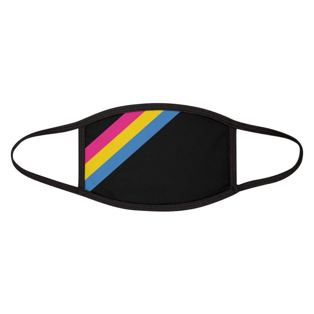Black Fabric Face Mask with Pan-Sexual Pride Stripes