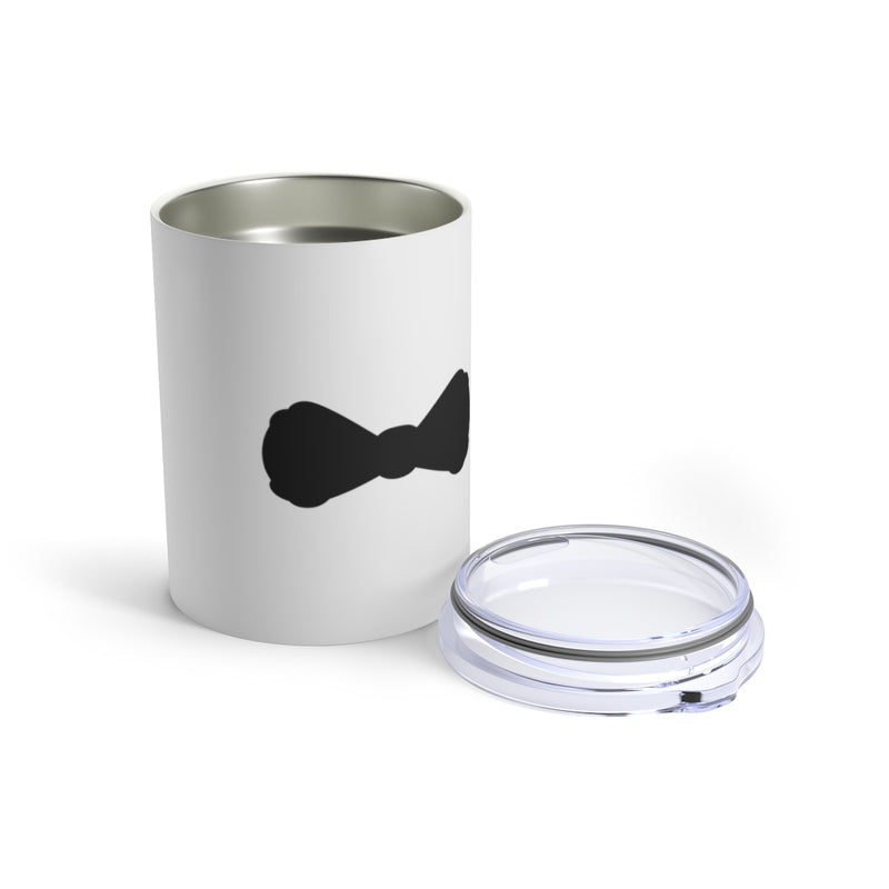 Wedding Day Stainless Steel White Tumbler with a Black Bow Tie - Front View with Lid Off