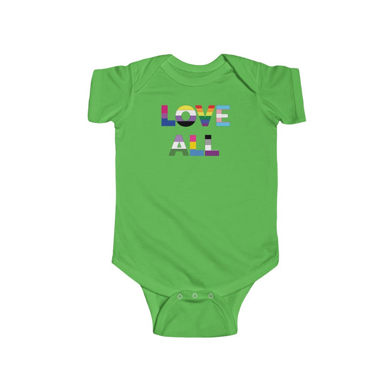 Apple Green Infant Bodysuit with LOVE ALL in Rainbow Block Letters