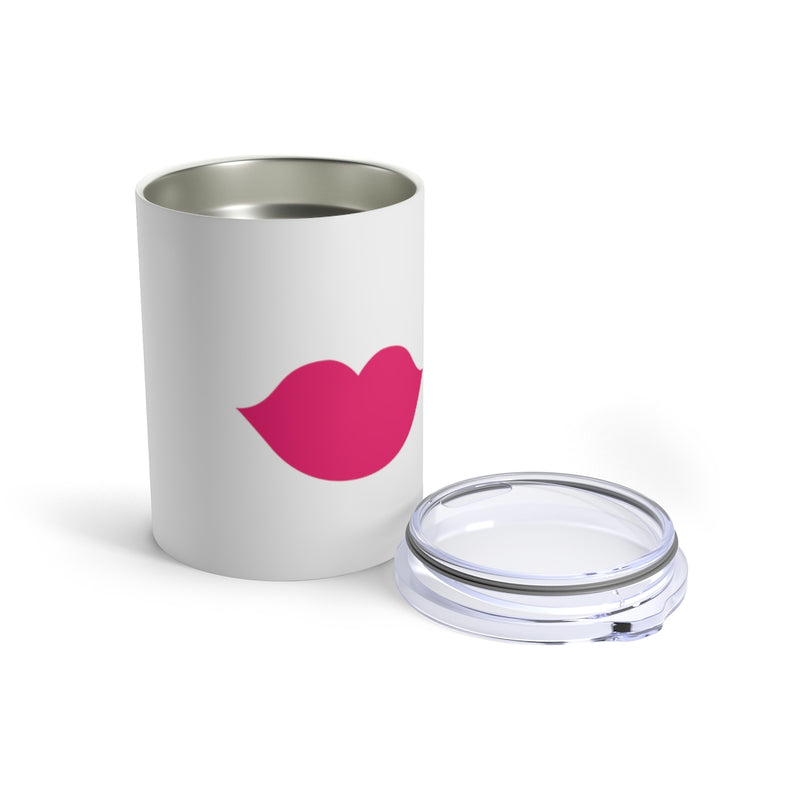 Stainless Steel White Tumbler with Pink Lips - Front View with Lid Off