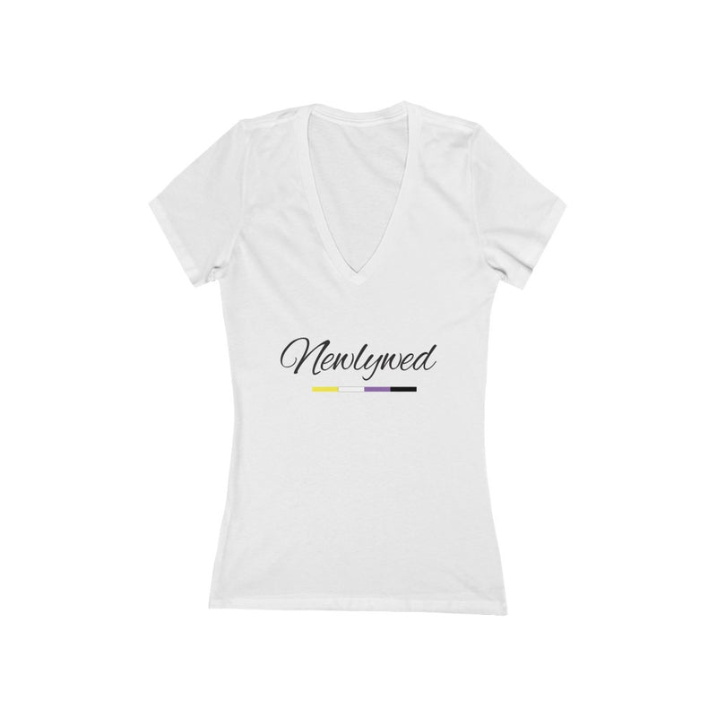 White V-Neck Tshirt with Newlywed in Black Cursive - Non-Binary Pride Underline