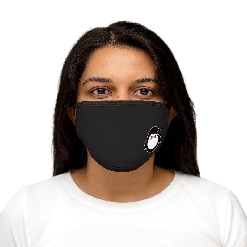 Black Fabric Face Mask with Dash of Pride Penguin Logo - On Woman - Front View