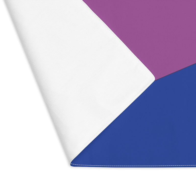 Bi-Sexual Pride Flag Placemat - close up with corner flipped to see white back
