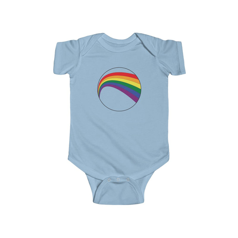 Light Blue Infant Bodysuit with LGBT Rainbow Arc