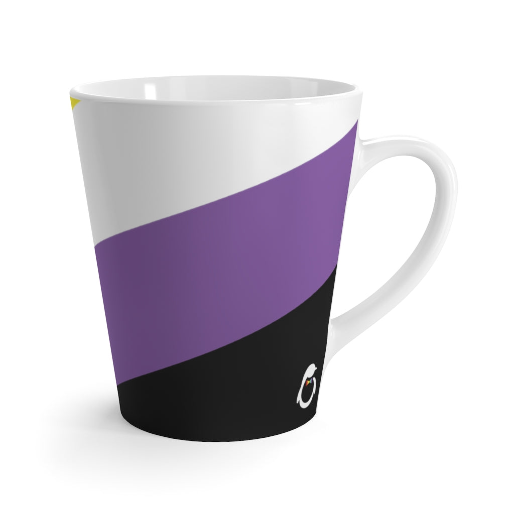 Non-Binary Pride Flag Coffee Mug side view with penguin logo
