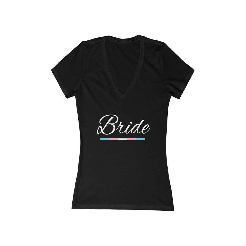 Wedding Day Black Fitted V-Neck Tshirt - Bride in White Cursive - Transgender Pride Underline