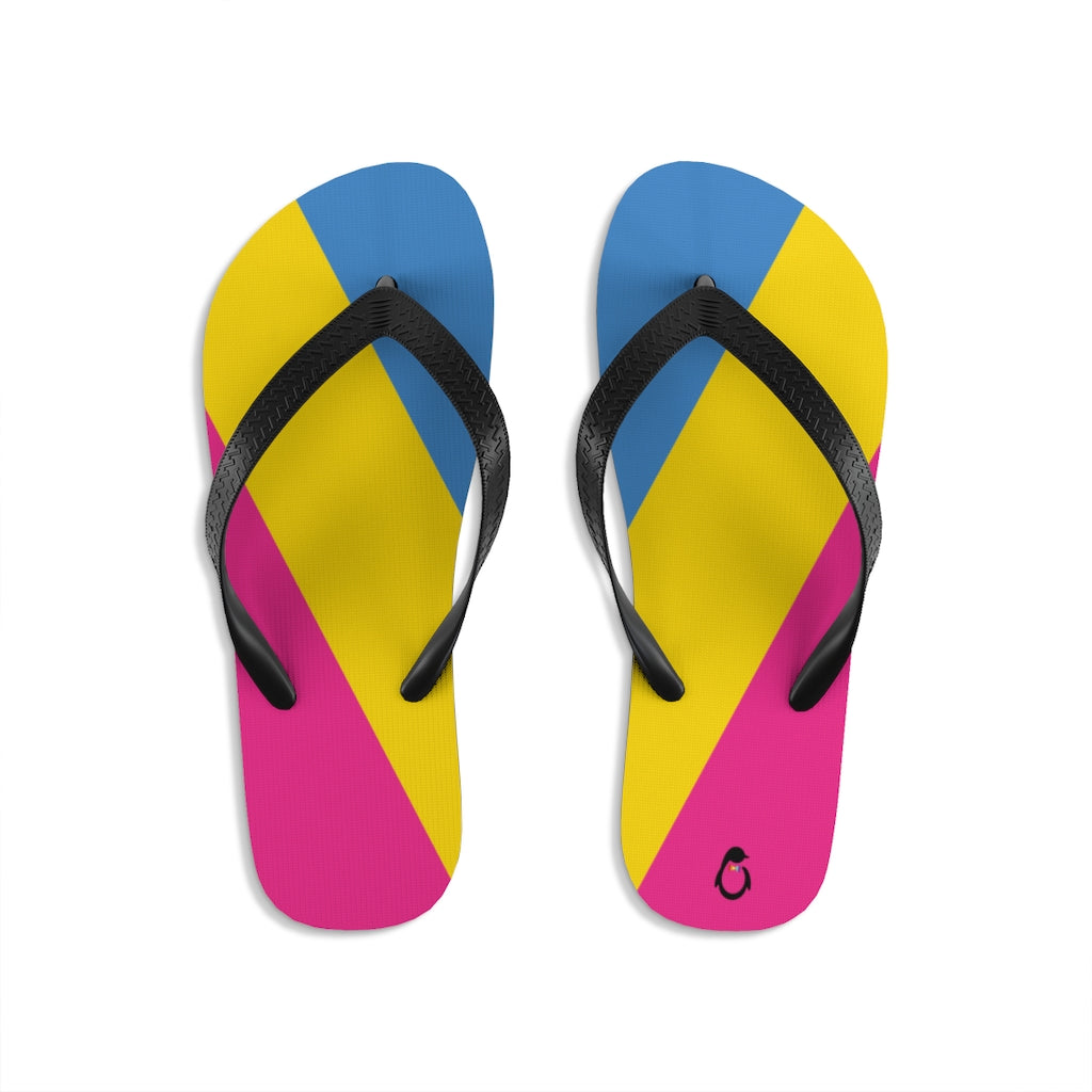 Pan-sexual Pride Flip-Flops - Black Straps - Pink Yellow Blue Soles