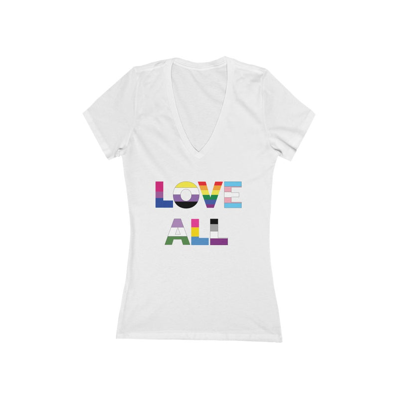 White V-Neck Tshirt with Love All in LGBTQ+ Rainbow Block Letters