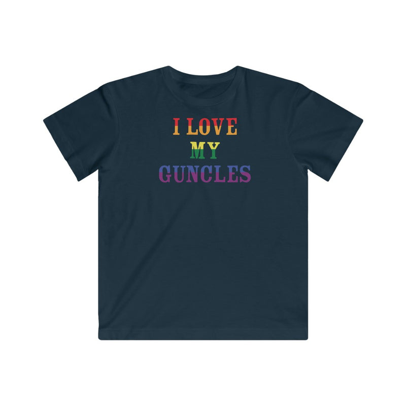Kids Navy Blue Crewneck Tshirt with I LOVE MY GUNCLES in Rainbow Text