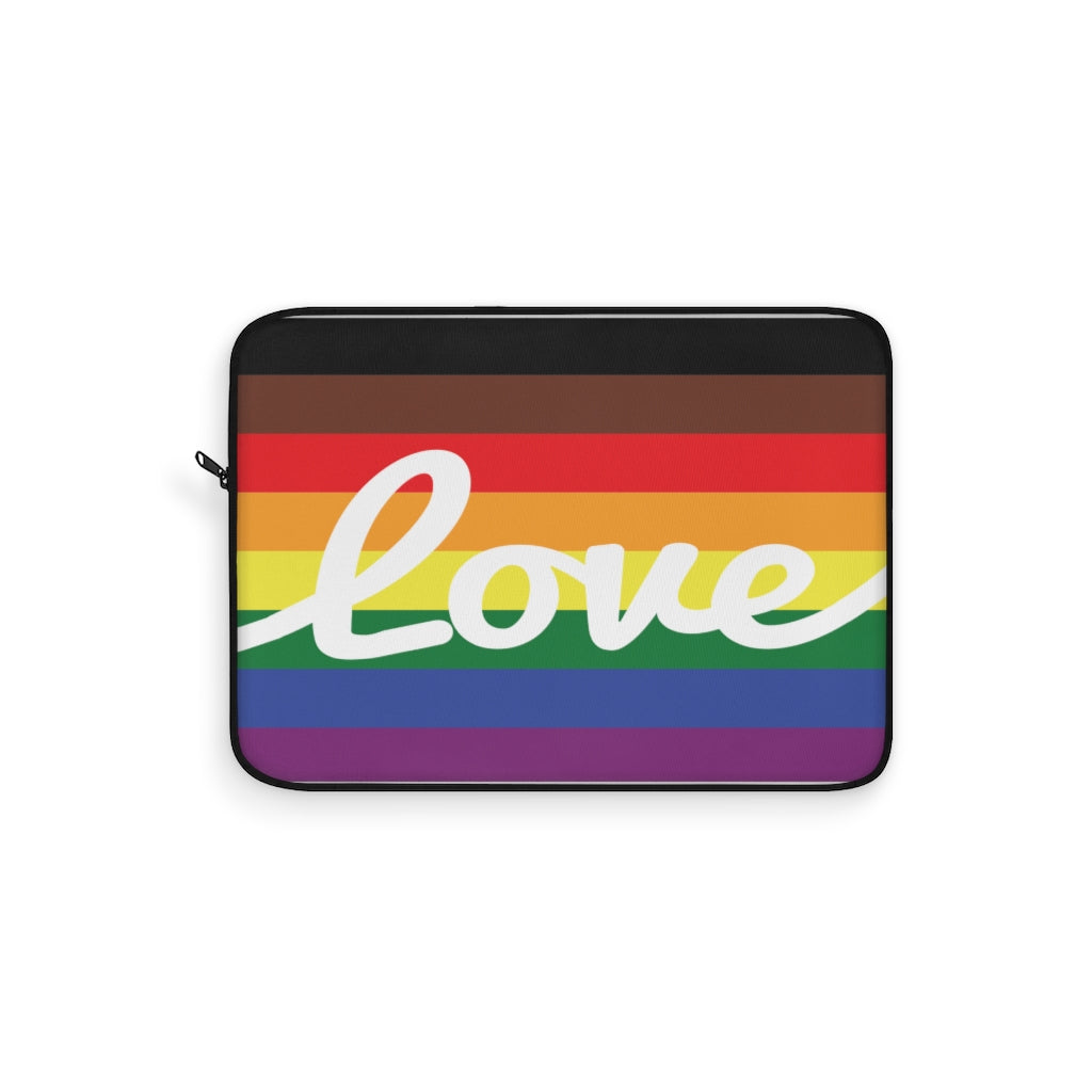 LGBT Pride Flag with Love in White Cursive - Laptop Sleeve