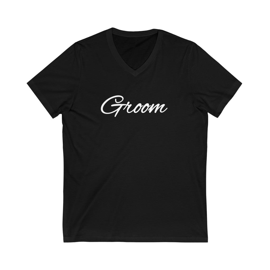 Wedding Day Black V-Neck Tshirt with Groom in White Cursive