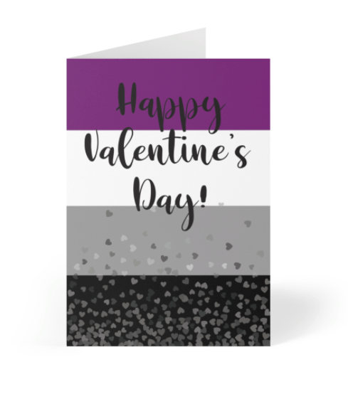 Valentine's Day Card - Asexual Pride Flag with hearts