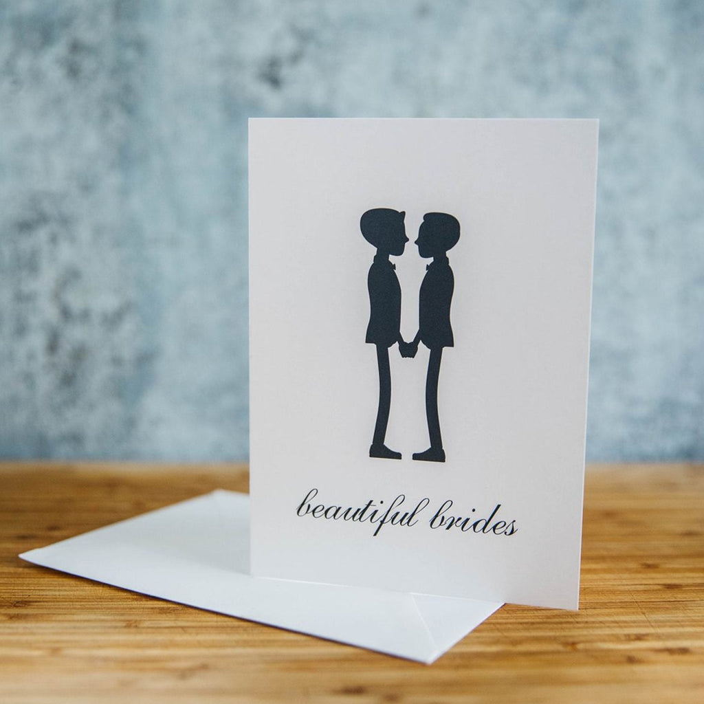 Black Silhouette of Two Beautiful Brides - Both in Suit with Short Hair  - White Background - LGBTQ+ Greeting Card