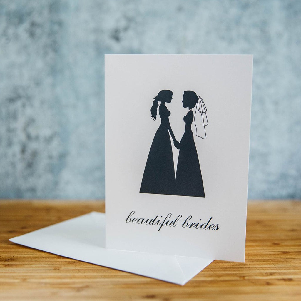 Black Silhouette of Two Beautiful Brides in Dresses - White Background - LGBTQ+ Greeting Card