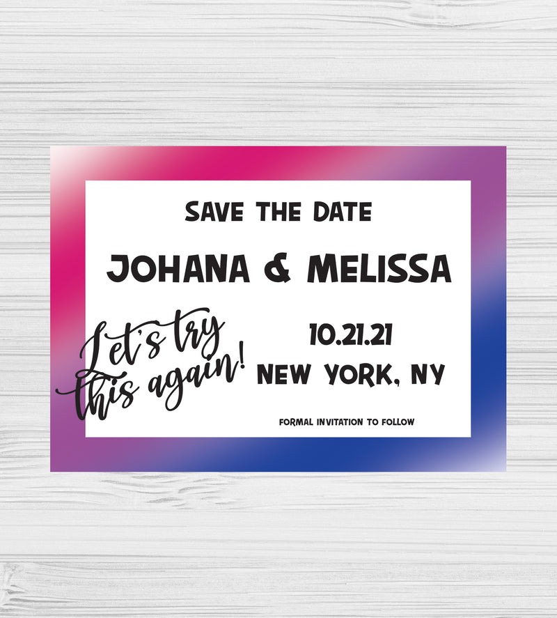 NEW - Let's Try This Again Bisexual Save the Dates