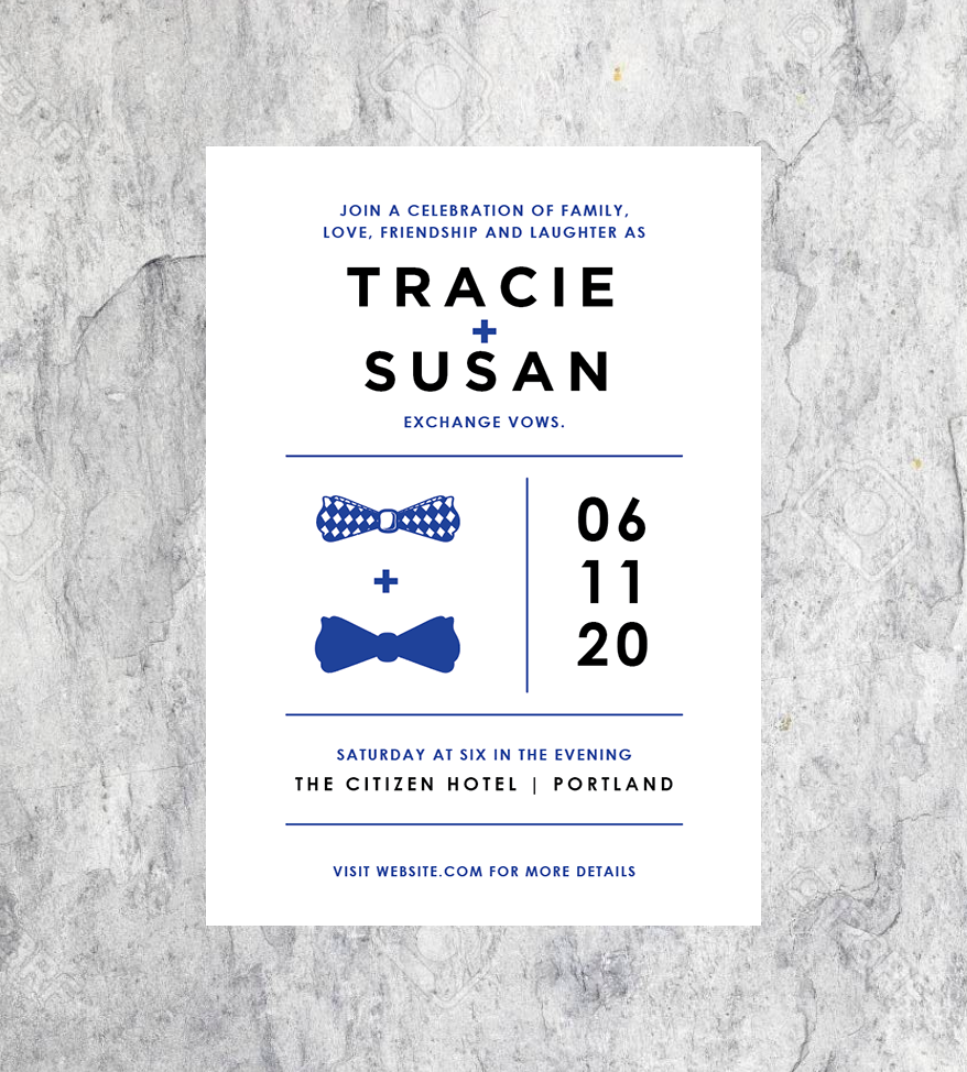 LGBTQ Bowtie Wedding RSVP