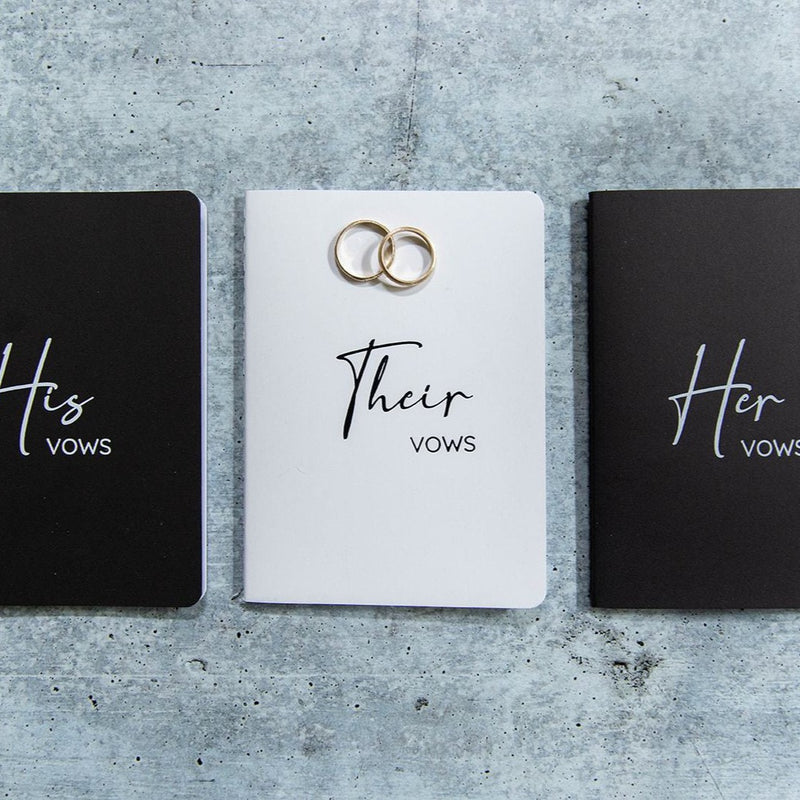 LGBTQ Collection of Black and White Vow Books - His - Their - Her