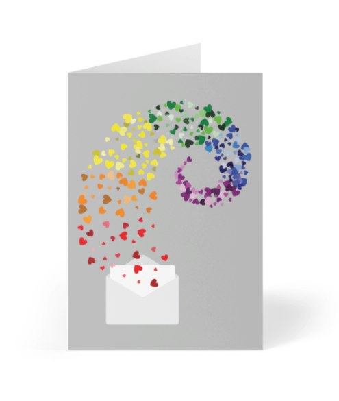 Valentine's Day - Envelope full of rainbow hearts