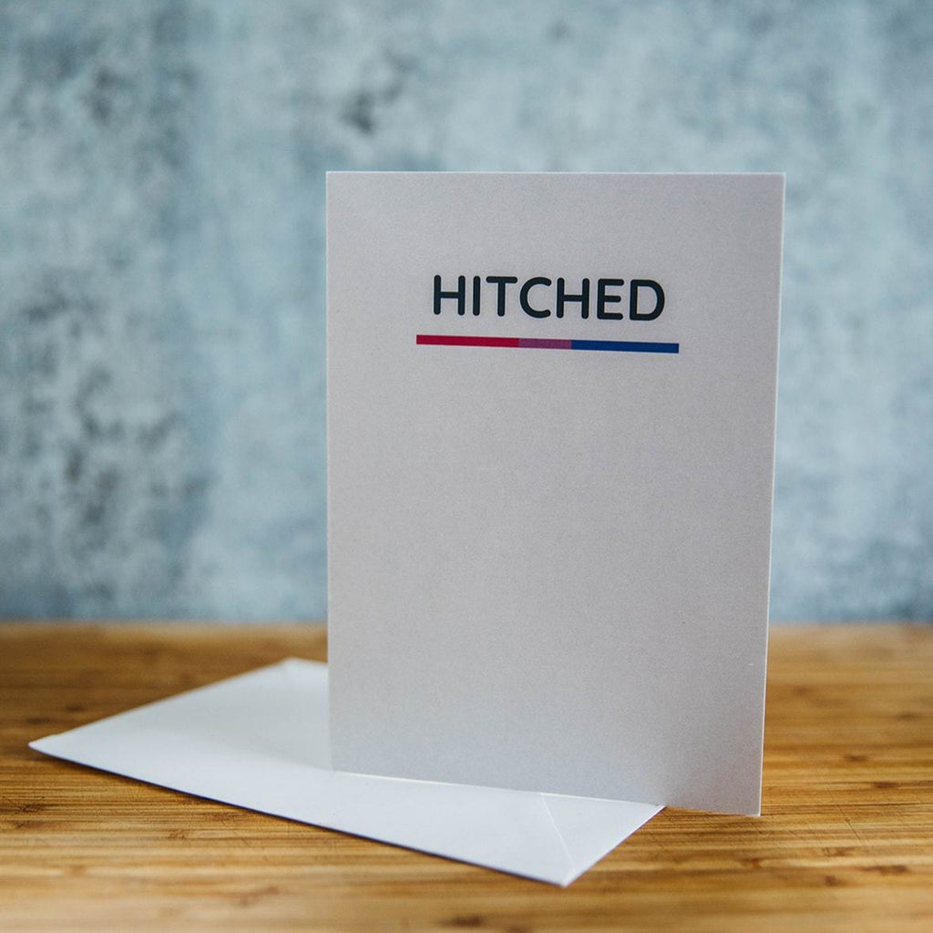 White Card with HITCHED in Black - Bi-Sexual Pride Underline - LGBT Wedding Greeting Card