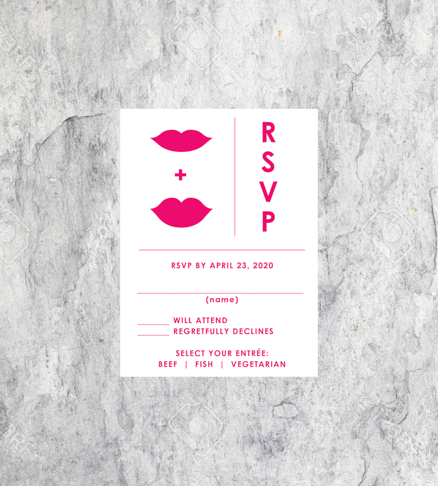 LGBTQ Hot Lip Wedding RSVP