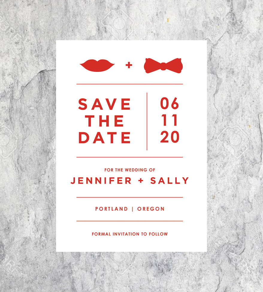 Hot Lips and Bowtie Save the Dates