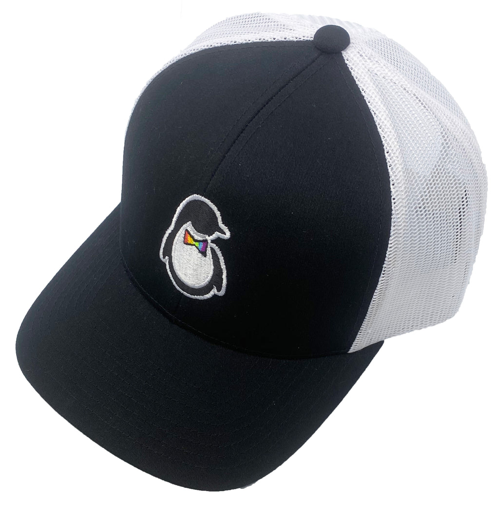 Trucker Hat - Black Front Panel and Brim with Embroidered Dash of Pride Penguin Logo - White Mesh Back Panels