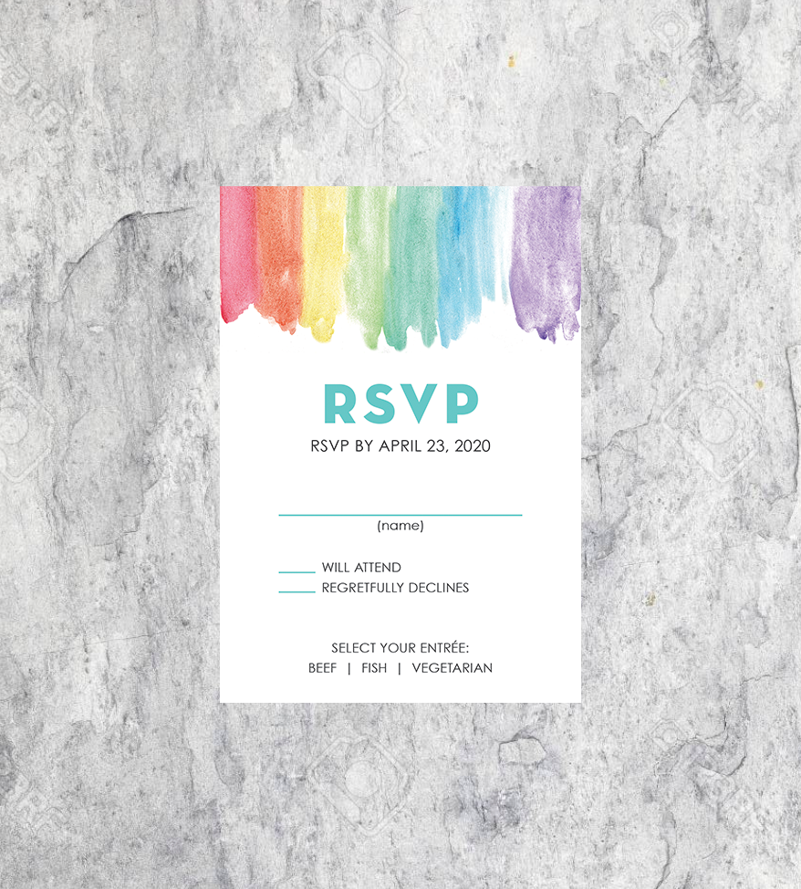 LGBTQ Rainbow Watercolor Wedding RSVP