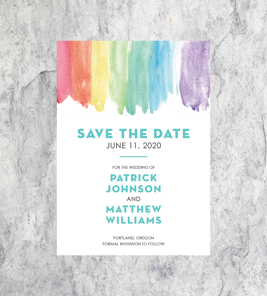LGBTQ+ Watercolor Save the Dates