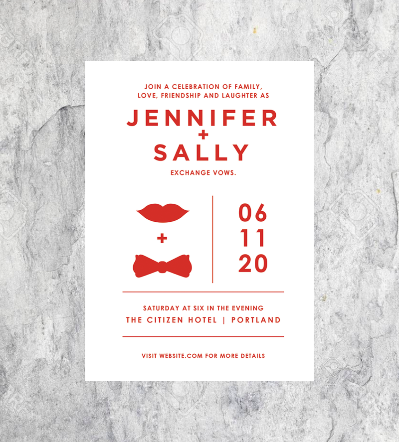Hot Lips and Bowtie Invitations
