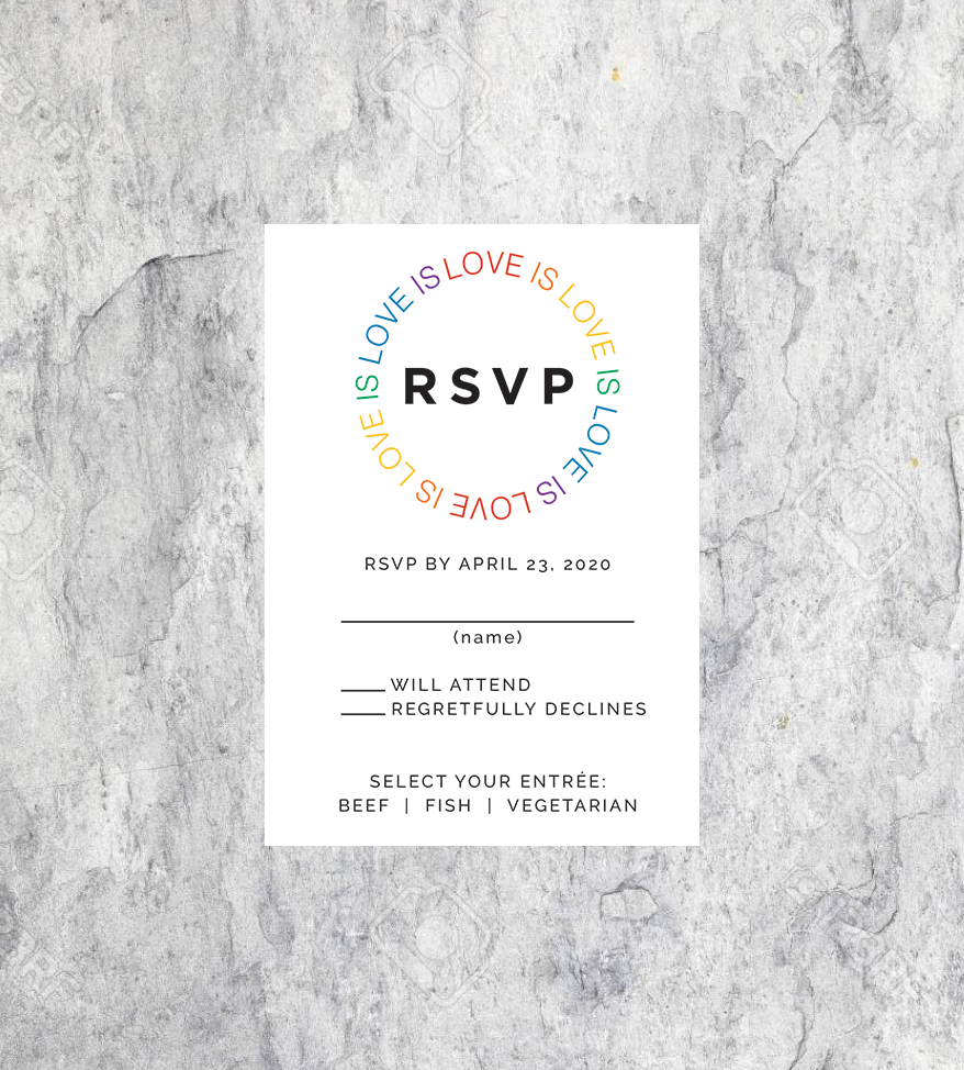 LGBTQ Rainbow Love is Love Wedding RSVP