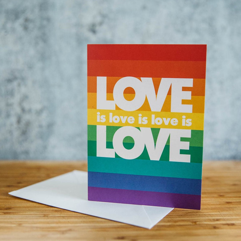 Love is Love is Love Rainbow Stripes Greeting Card LGBT Wedding Greeting Card