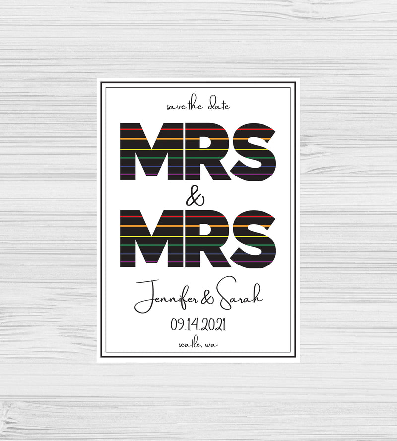 NEW -  Mrs & Mrs Rainbow Save the Dates