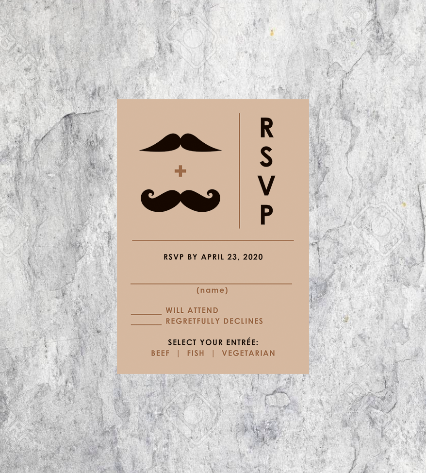 LGBTQ Mustache Wedding RSVP
