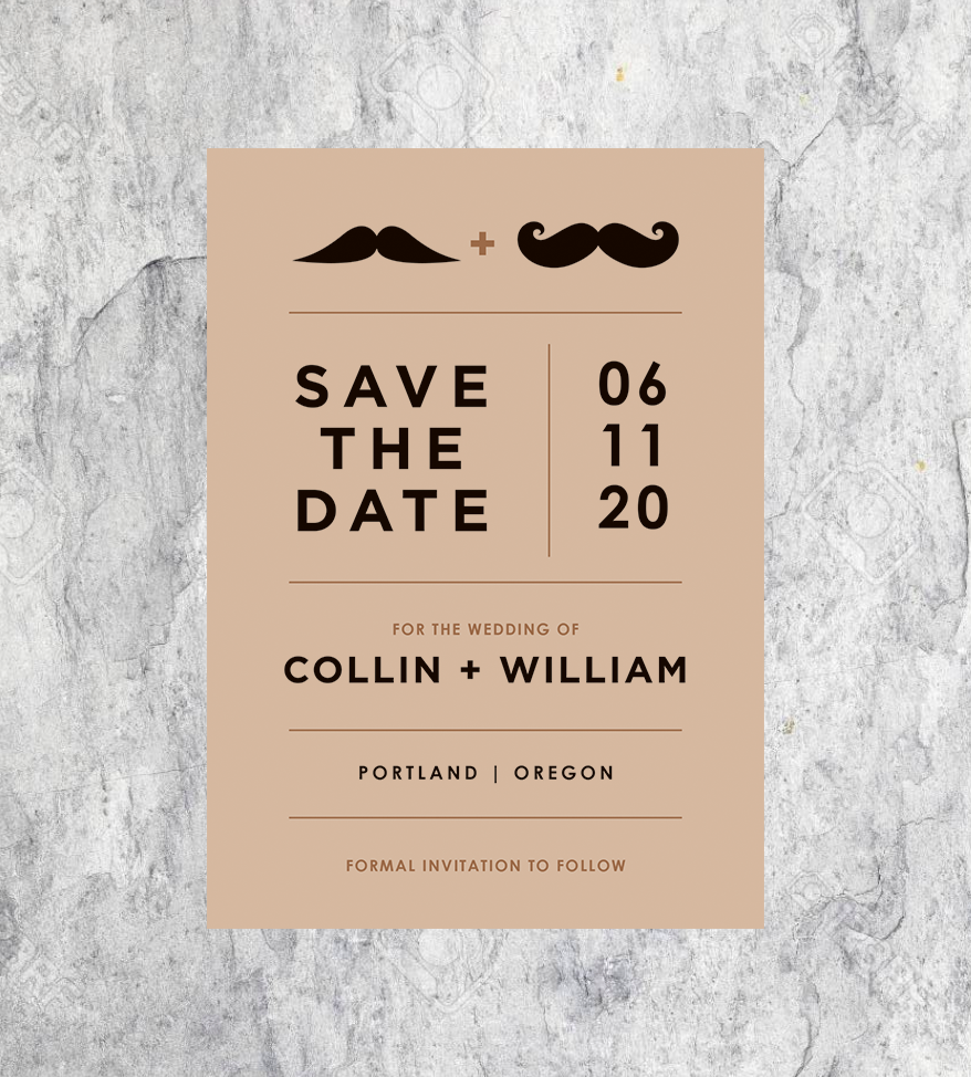Mustache Save the Dates