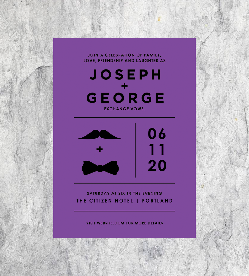 Mustache and Bowtie Invitations