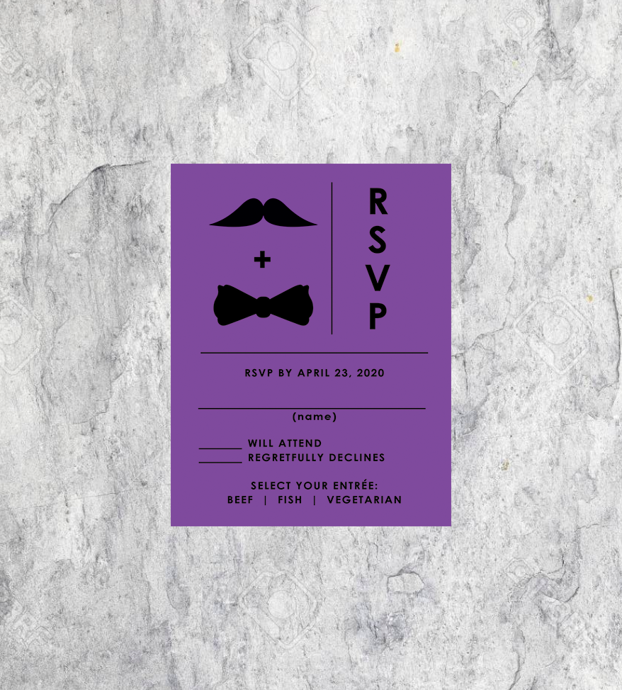 LGBTQ Mustache and Bowtie Wedding RSVP