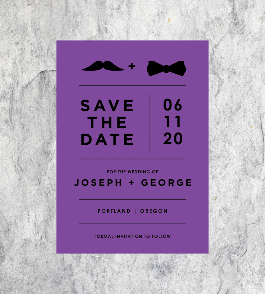 Mustache and Bowtie Save the Dates