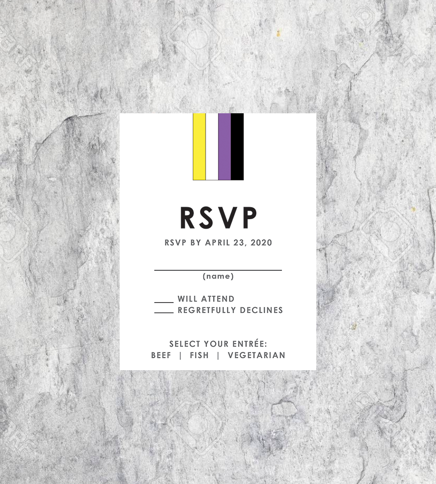 LGBTQ Nonbinary Wedding RSVP