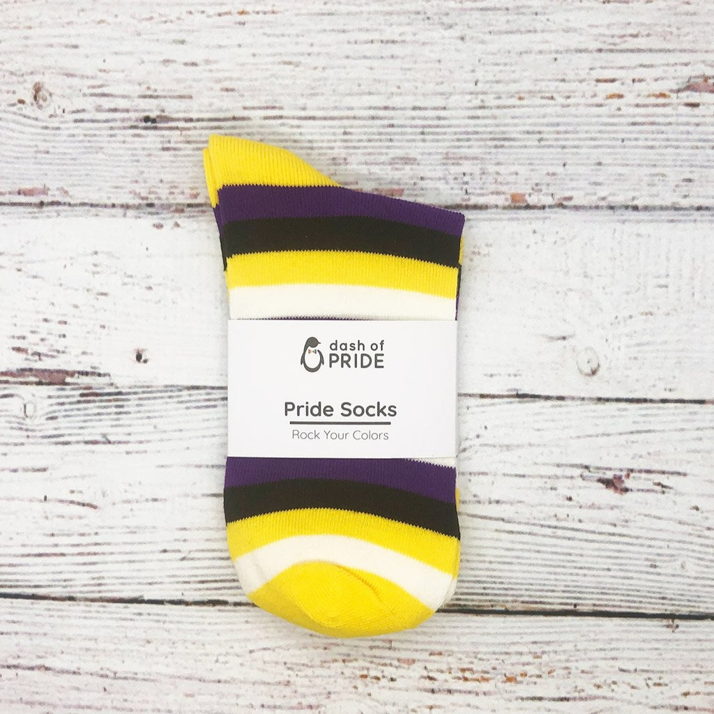Non-Binary Pride Striped Socks Packaged