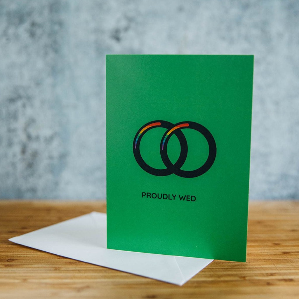 Proudly Wed Spouses Two Bands Green LGBT Wedding Greeting Card