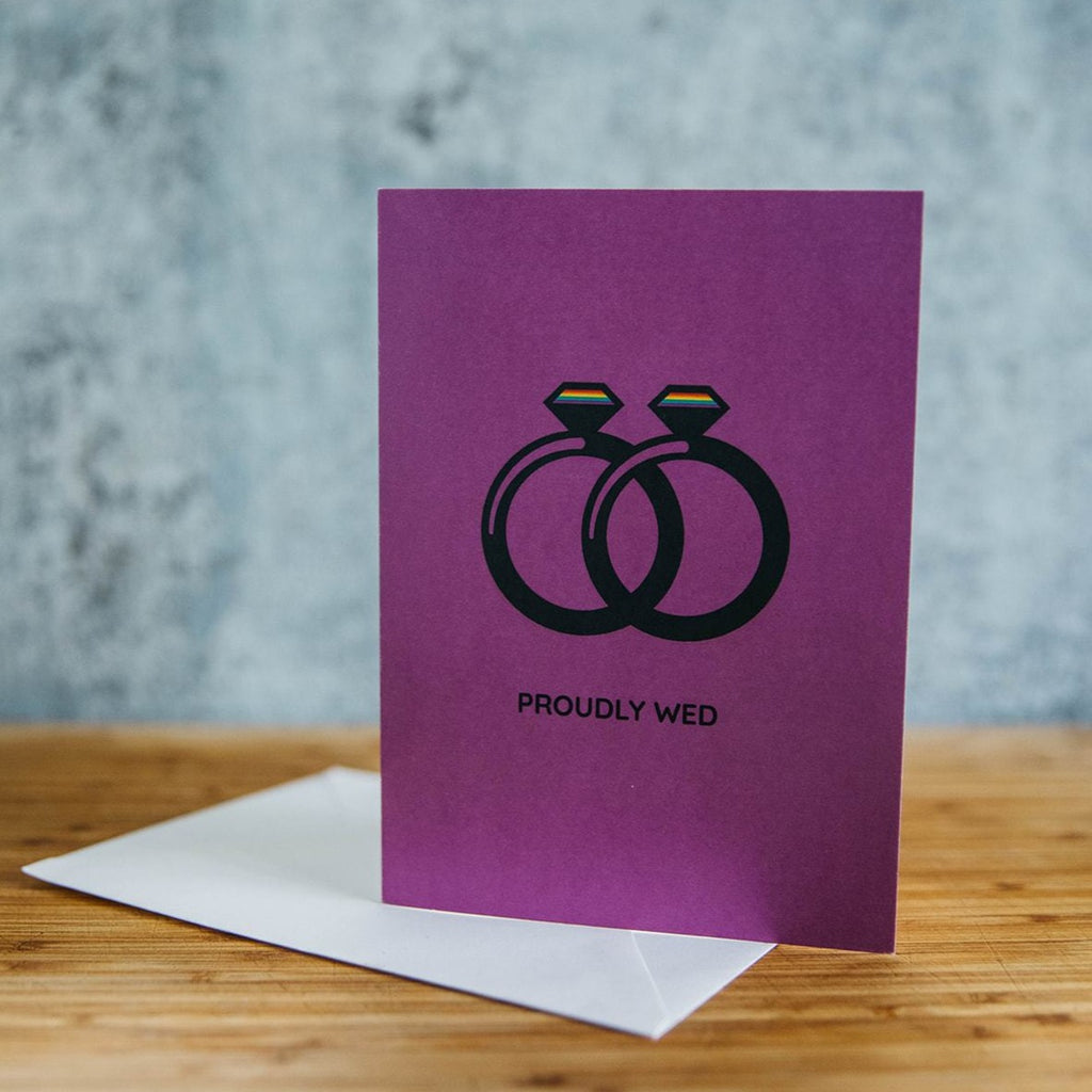 Proudly Wed Spouses Two Diamonds - Non Binary Wedding Greeting Card